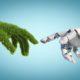 Beitragsbild für Blogbeitrag Green Engineering Energiewende: Eine mit Gras bewachsenen Hand und Hand von Roboter berühren sich fast